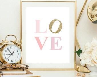 Love Printable Block Love Print Love Wall Art Pink and Gold Nursery Decor Girl Nursery Decor Baby Shower Print Baby Girl Nursery Pink Love