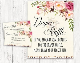 Floral Diaper Raffle Tickets Floral Baby Shower Rustic Floral Diaper Raffle Sign Boho Baby Shower Sign Baby Shower Game Shower Activity