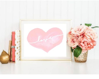 Love Watercolor Heart Print