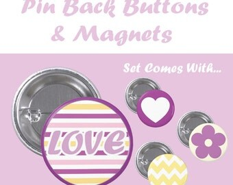 Set- Pin Back Button and Magnet