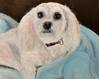 Original Oil Painting of White and Pink Long-Haired Dog