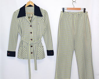 Vintage Clothing • 1970's Two- Piece Pant Suit •Blue and Yellow Polka Dot Pattern •