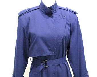 Vintage Clothing • 1980's Navy Trench Coat • Stunning Mandarin Collar • Pleated/ Belted Trench