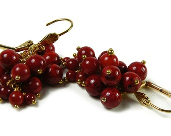 ON SALE!! Red Bamboo Coral Earrings in Gold