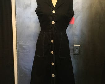 1950s inspired dress/1980s does the 1950s/shift dress/button up dress/M