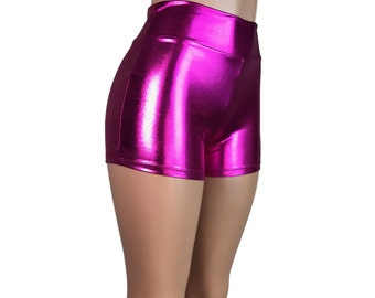 Pink Metallic High Waisted Booty Shorts - club or rave wear - Crossfit - Running