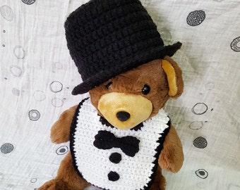 Top Hat and Tuxedo Bib Set, Bib Set, Tuxedo Bib set, Top Hat, Crochet Top hat, Baby Top Hat, crochet baby hat, photo prop, top hat