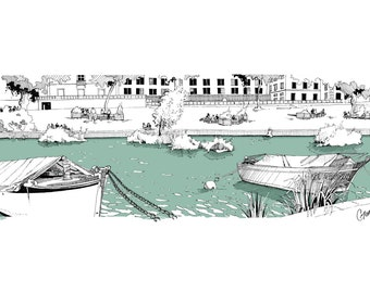 Ink drawing harbor, Nantes river landscape, print drawing, Loire scene, freehand drawing boats, french quiet river
