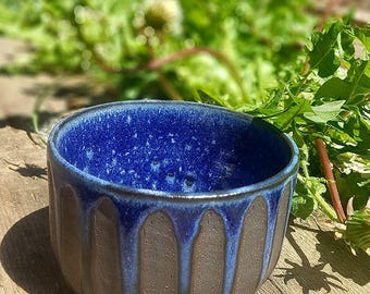 Black stoneware scurved plant pot blue