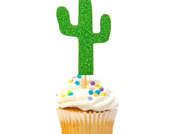12 Count Glitter Cactus Cupcake Topper Baby Shower Cupcake Topper First Birthday Cupcake Topper Gold Glitter Birthday Decorations