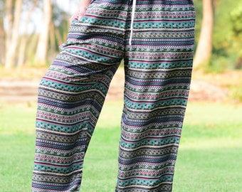 Green stripe Woman Harem Pants Yoga pants - HP001