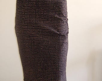 Beautiful print knee length pencil skirt stretch black/taupe