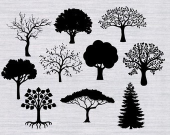 Trees SVG Bundle, tree svg, tree clipart, family tree svg, svg files for silhouette, cricut download, deer svg files, dxf, png, cut files