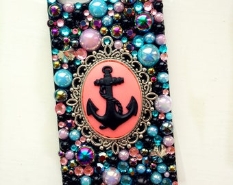 Pink Anchor Cameo Studded Decoden Phone Case