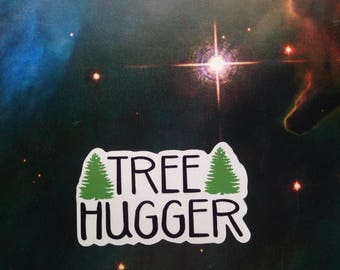Tree Hugger Sticker Happy Tree Hugger Sticker Hug a Tree Sticker Bumper Stickers TreeHugger Cut Carbon Emissions I Love Trees Stickers