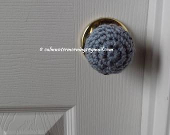4 Crochet Child Safe Door Knob Covers (Spa Blue Fleck)