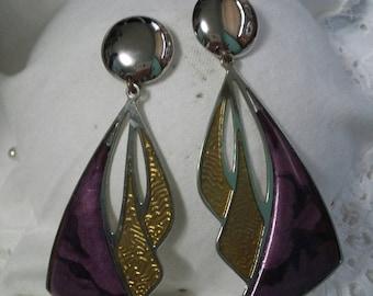 Berebi purple and gold drop pierced earrings