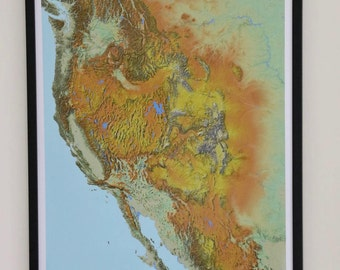 Usa West Coast Map Printed In High Resolution Photo Paper Us Map California