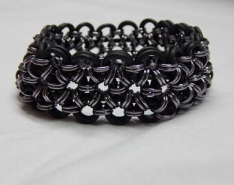Black / Black Ice Anodized Aluminum + EPDM Chain Mail Bracelet Handmade