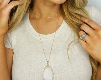 White Jade Teardrop Necklace - Long Teardrop Necklace - Gold Necklace - Stone Pendant - Gemstone Jewelry - Gemstone Necklace -《the Katie》