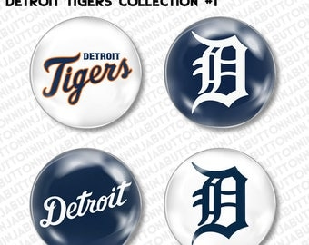 Set of 4 Mini Pins / Buttons - DETROIT TIGERS michigan baseball mlb (choose your style!)
