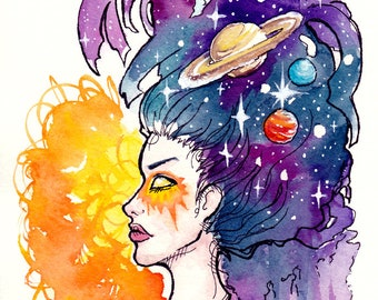 ORIGINAL Watercolor Painting - Portrait of the Cosmos