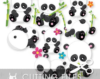 Panda cutting files, svg, dxf, pdf, eps included - Panda party cutting files for cricut and cameo - Cutting Files SVG - CT960