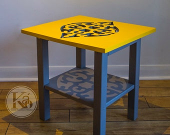 End table- Malibu end table- Side table- Accent table- Furniture- Custom design- Handmade- Lasercut- Pattern- Middle Eastern- Yellow- Grey