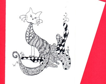 The Cats Meow Zentangle Doodle Card, Cat Card, animal card, Colouring Creative Cards