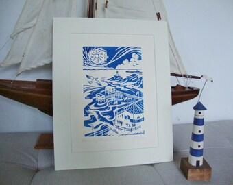 Pier and Lighthouse, Mumbles. Original linocut print