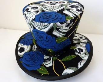 Lolita Hat - Steam Punk Hat - Gothic Hat - Top Hat -  Blue sculls and roses fabric.