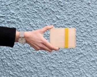 Murray Billfold, Leather Wallet, Yellow Elastic, Natural Veg Tan, Minimal