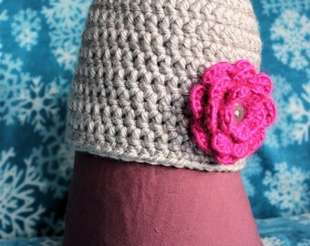 Women's Crochet Hat with flower