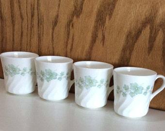 Corning Corelle Callaway Mugs Set of 4 Green Ivy Leaves Vines Vintage Corning Mugs USA Swirl Callaway Mugs Farmhouse Cups White