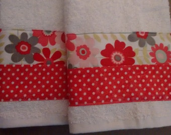 2 Red Floral Terry Hand Towels