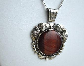 Vintage Native American Signed OD Red Tiger's Eye Sterling Silver Necklace Pendant