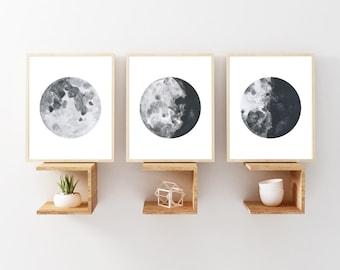 Moon Wall Art moon poster moon phases wall art moon print large prints