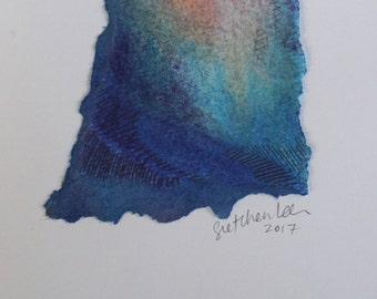 Original Pastel Drawing on Watercolor Paper, Fine Art Card