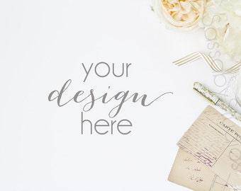 Vintage Wedding Desk Styled Stock Photography / Product Mockup / Styled Photo / Blog / Website / Sassaby Studios / Wedding Invite #9290