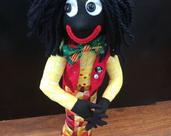 textile doll,golly,rasta gollywog,OOAK,handmade stump doll