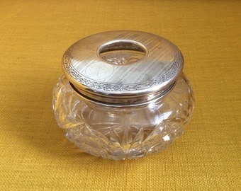 Antique Sterling Silver Victorian Receiver Jar / Dresser Jar / Jewelry Box / Crystal