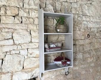 Weathered gray wall shelf