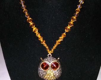 Amber Owl & Beaded Rhinestone Necklace