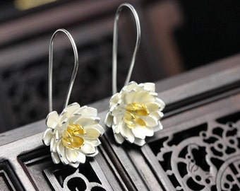 Sterling Silver Lotus Earrings