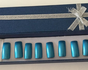 Set of 20- Hand painted ice blue glossy false nails - glossy press on nails - Fake Nails - any size and style   - blue glossy paint