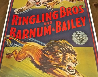 Ringling Brothers and Barnum and Bailey Circus Poster- Featuring a Lion and Tiger