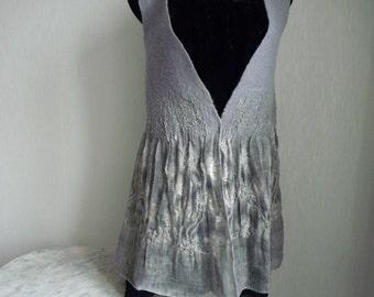 Felted Waistcoat, felted Vest, gray vest, merino long wool and linen vest, wearable fiber art, Sleeveless Felt Jacket, Size M