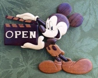 Wooded Disney Plaque, Wooded Mickey Mouse Plaque, Baby Nursery Decor, Hand Carved Wood Art Intarsia Mickey Mouse Wall Plaque, Disney, Mickey