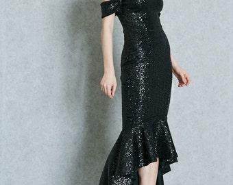 Embellished Off Shoulder Black Dress