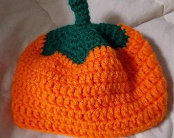 Crochet pumpkin beanie